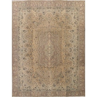 """Vintage Muted Tabriz Hand Knotted Wool Persian Distressed Area Rug - 12'2"""" x 8'11"""""""