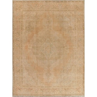 """Vintage Muted Tabriz Hand Knotted Wool Oriental Persian Area Rug - 12'8"""" x 9'4"""""""