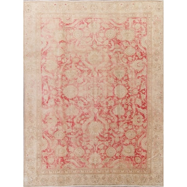 798ddb723f Vintage Muted Tabriz Hand Knotted Wool Persian Distressed Area Rug - 12'2