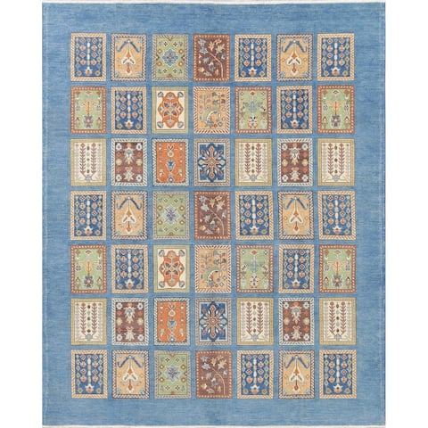 "Kazak Garden Design Hand Knotted Wool Pakistani Oriental Area Rug - 9'10"" x 8'1"""
