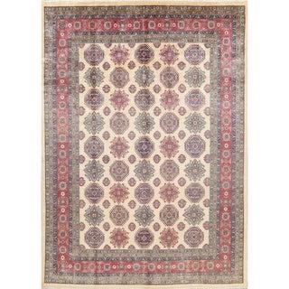 "Kazak Geometric Hand Knotted Wool Pakistani Oriental Area Rug - 12'4"" x 8'9"""