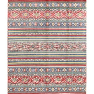 "Kazak Geometric Hand Knotted Wool Pakistani Oriental Striped Area Rug - 9'9"" x 8'2"""