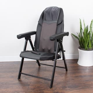 Lifesmart Black Faux-leather Folding Massage Chair with Heat Massage and Remote
