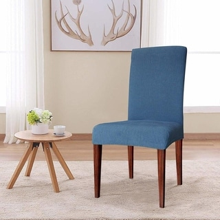 Enova Home Elegant Knitting Jacquard Box Cushion Dining Chair Slipcover (Denim Blue)