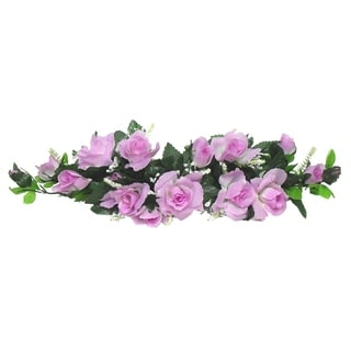 """Set of 2 22"""" long silk rose swag with gyps"""