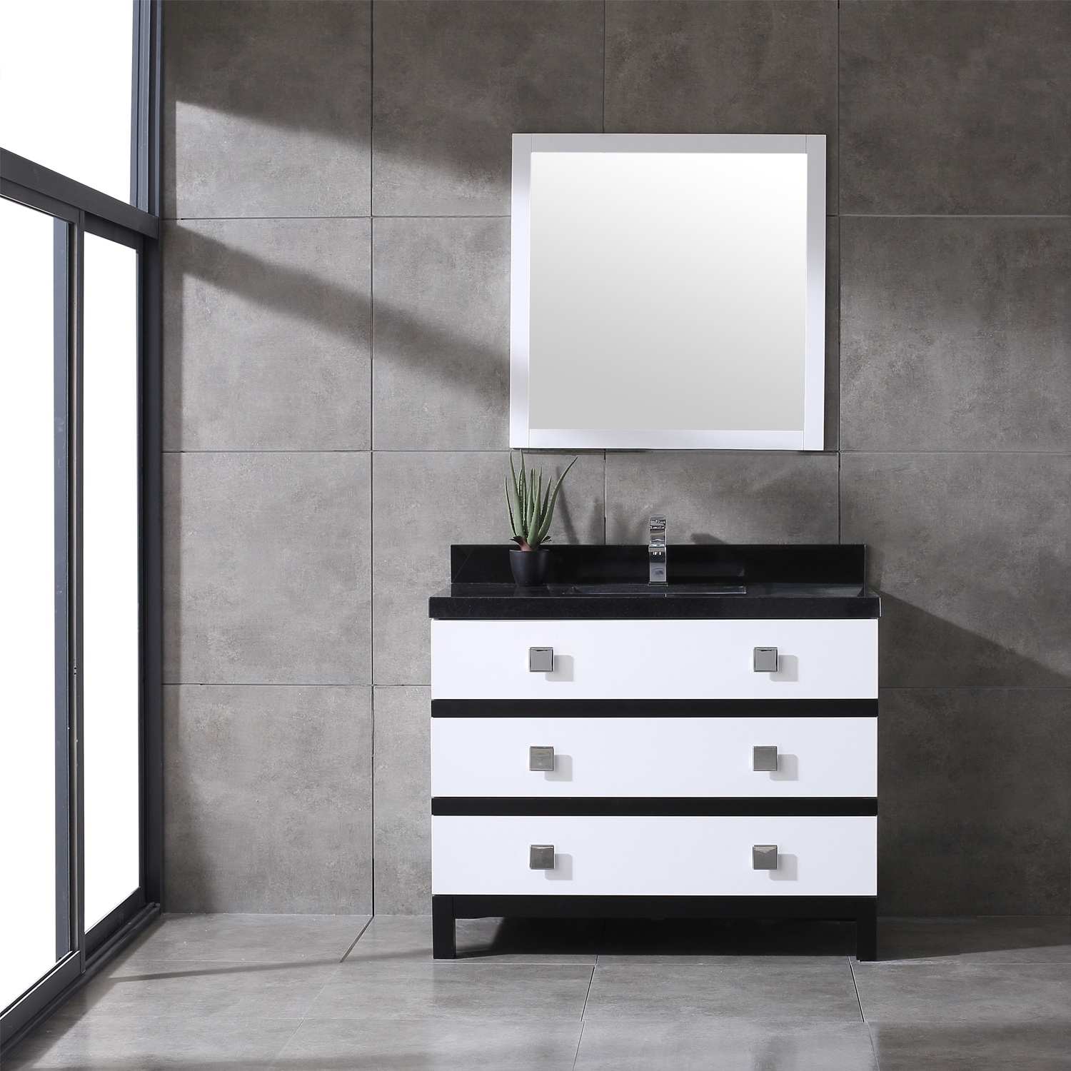 Shop Eviva Sydney 42 Inch Black and White Bathroom Vanity