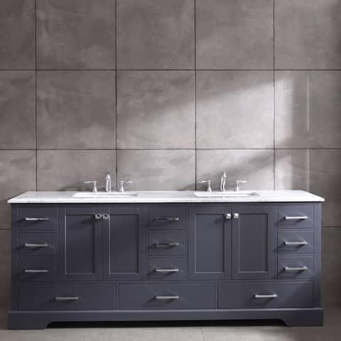 Eviva Storehouse 84 inch Dark Gray Bathroom Vanity with White Carrara Marble Countertop and Undermount Porcelain Sinks