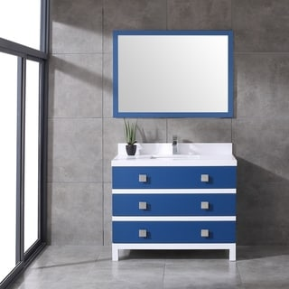 Eviva Sydney 42 Inch Blue and White Bathroom Vanity