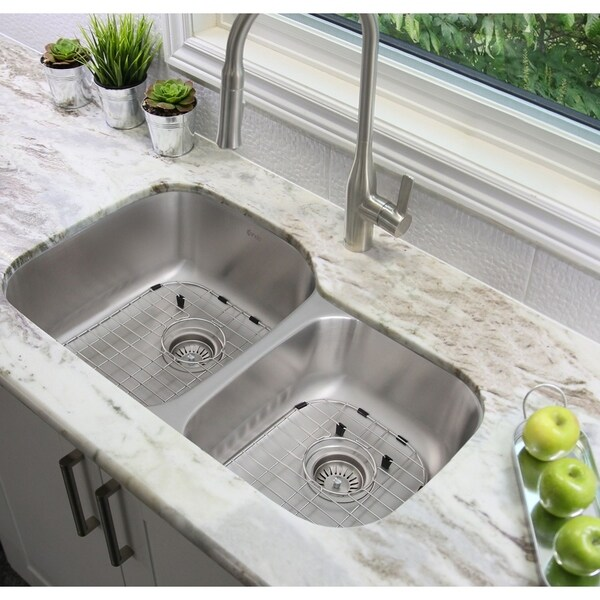 32 L X 20 W Double Basin Undermount Kitchen Sink With Grids And Strainers