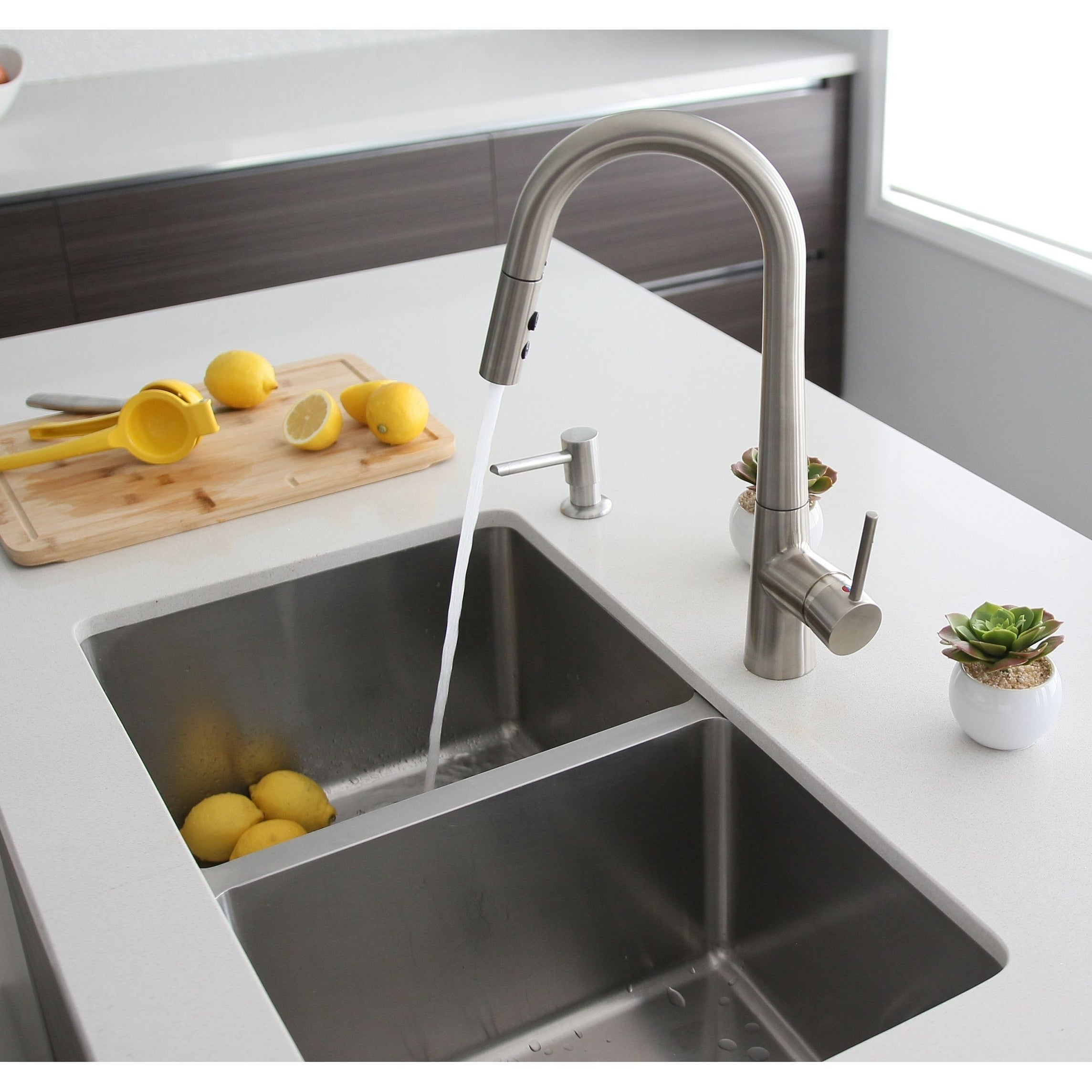 31L x 18W Double Basin Undermount Kitchen Sink with Strainers - Silver - 31 x 18 x 9 (Includes Hardware - Undermount - 16)