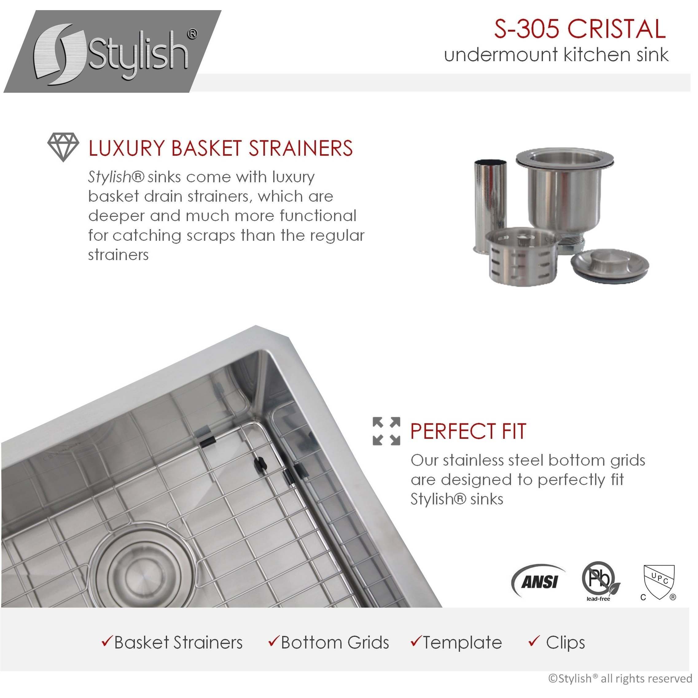 S 305xg 16 Gauge Stainless Steel 32 Inch Undermount 60 40 Double Bowl Kitchen Sink Luxury Basket Strainers 16 Gauge With Grids 10mm Radius Corners