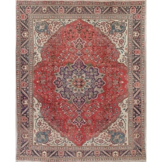 """Vintage Tabriz Floral Hand Knotted Wool Oriental Persian Area Rug - 12'8"""" x 9'4"""""""
