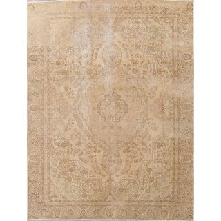 """Vintage Muted Tabriz Hand Knotted Wool Persian Distressed Area Rug - 12'0"""" x 8'10"""""""