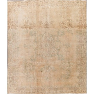 """Vintage Muted Tabriz Hand Knotted Wool Persian Distressed Area Rug - 12'1"""" x 9'9"""""""