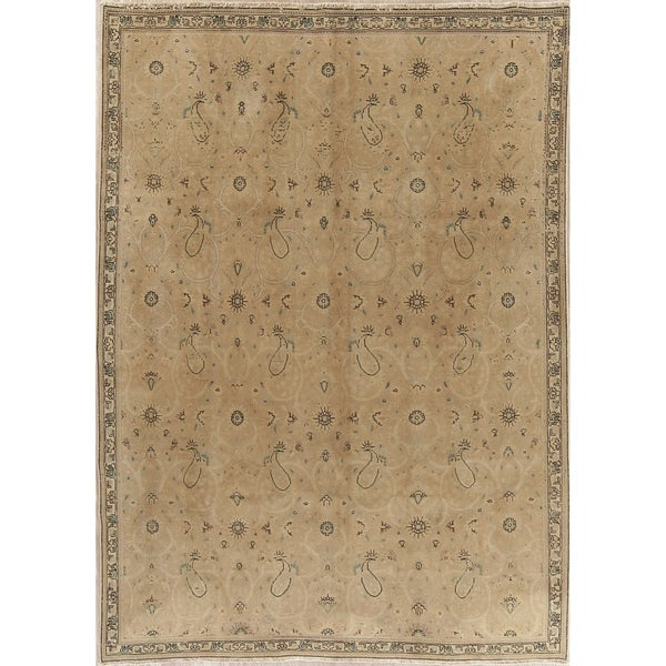 """Vintage Muted Tabriz Hand Knotted Wool Distressed Persian Area Rug - 10'0"""" x 7'3"""""""