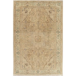 """Vintage Muted Tabriz Hand Knotted Wool Distressed Persian Area Rug - 11'0"""" x 7'1"""""""