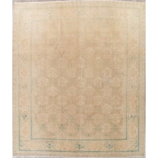 """Vintage Muted Tabriz Hand Knotted Wool Persian Distressed Area Rug - 12'3"""" x 9'11"""""""