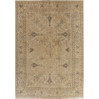 """Vintage Tabriz Muted Hand Knotted Wool Distressed Persian Area Rug - 12'3"""" x 8'6"""""""