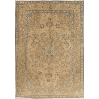 "Vintage Muted Tabriz Hand Knotted Wool Persian Distressed Area Rug - 11'4"" x 8'0"""