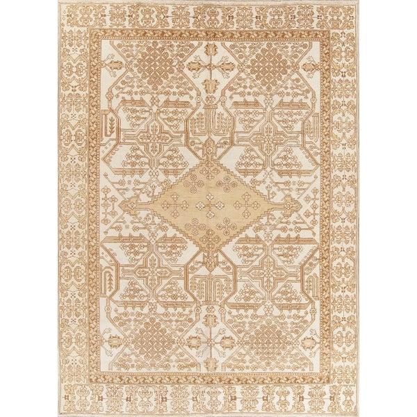 "Vintage Ferdos Geometric Hand Knotted Wool Oriental Persian Area Rug - 10'6"" x 7'8"""