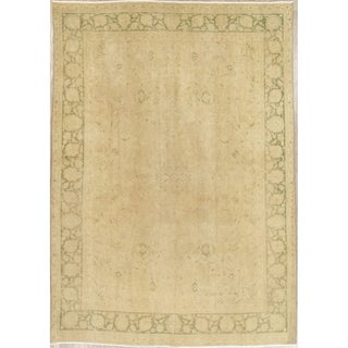 "Vintage Muted Kashan Hand Knotted Wool Persian Distressed Area Rug - 11'3"" x 7'10"""