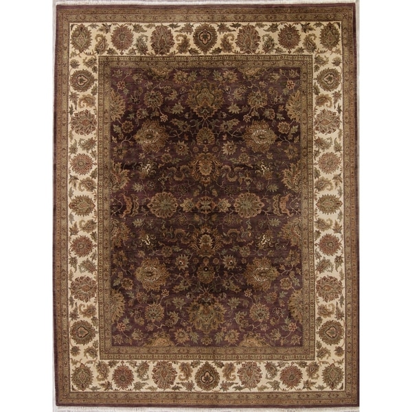 "Agra Floral Hand Knotted Wool Indian Oriental Area Rug - 11'11"" x 9'2"""
