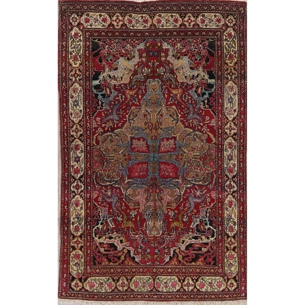 """Antique Isfahan Floral Hand Knotted Wool Oriental Persian Area Rug - 7'0"""" x 4'4"""""""