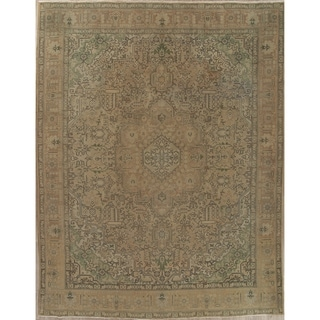 """Vintage Muted Tabriz Hand Knotted Wool Distressed Persian Area Rug - 12'10"""" x 9'11"""""""