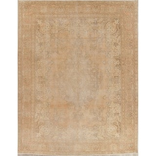 """Vintage Muted Tabriz Hand Knotted Wool Distressed Persian Area Rug - 12'4"""" x 9'6"""""""