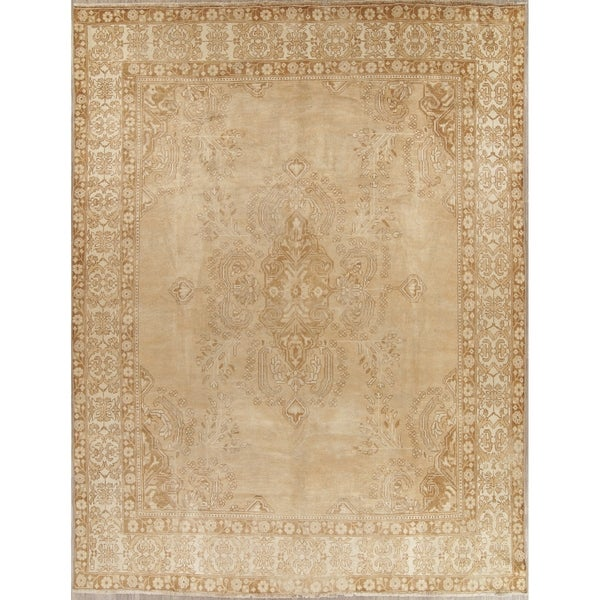 """Vintage Tabriz Muted Hand Knotted Wool Persian Distressed Area Rug - 12'5"""" x 9'5"""""""