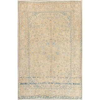 "Vintage Muted Kashan Hand Knotted Wool Distressed Persian Area Rug - 11'1"" x 7'5"""