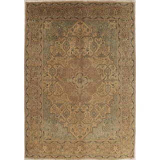 "Vintage Muted Tabriz Hand Knotted Wool Distressed Persian Area Rug - 13'2"" x 9'5"""