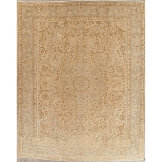 "Vintage Muted Tabriz Hand Knotted Wool Distressed Persian Area Rug - 12'9"" x 10'0"""