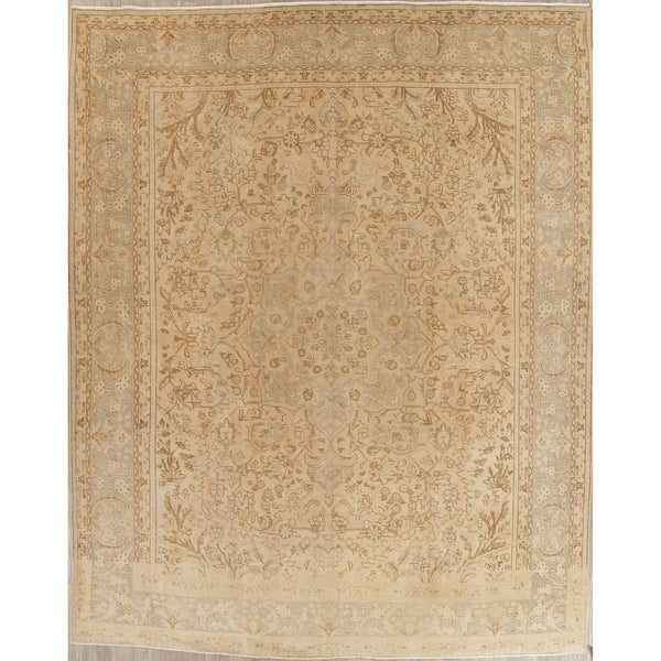 """Vintage Muted Tabriz Hand Knotted Wool Distressed Persian Area Rug - 12'9"""" x 10'0"""""""