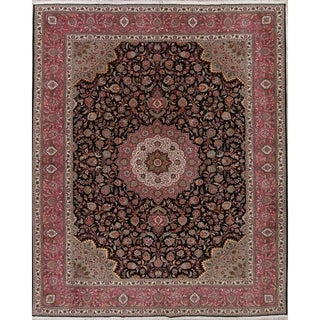 """Tabriz Floral Hand Knotted Wool & Silk Oriental Persian Area Rug - 12'9"""" x 10'0"""""""