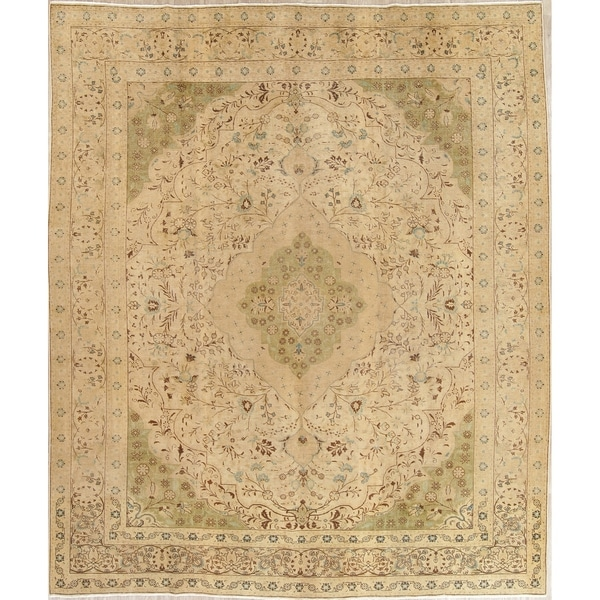 "Antique Muted Tabriz Hand Knotted Wool Distressed Persian Area Rug - 12'2"" x 9'7"""