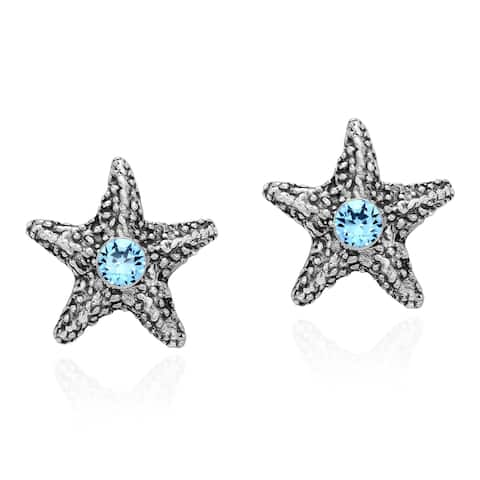 Handmade Amazing Sparkling Starfish Cubic Zirconia on Sterling Silver Stud Earrings (Thailand)