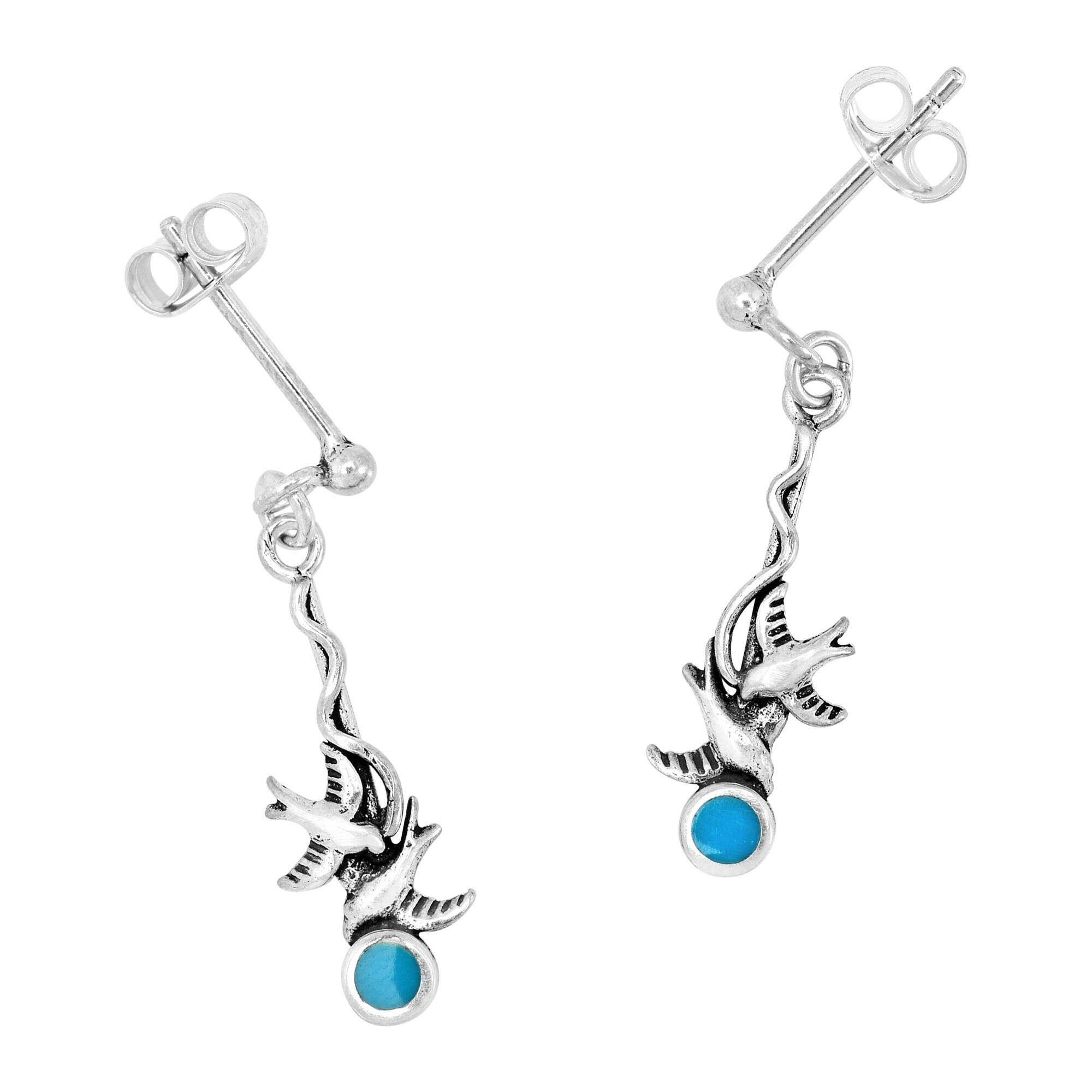 Blue Turquoise Silver Plated 6 Grams Earring 1.5 Long Designer Handmade Jewellry