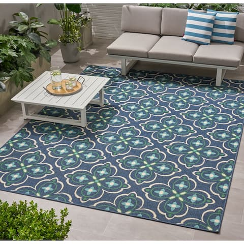 Christopher Knight Home Camelia Medallion Blue and Green Outdoor Area Rug