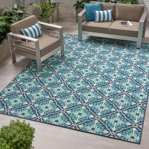 Christopher Knight Home Navy and Blue Morroco Trellis Outdoor Area Rug
