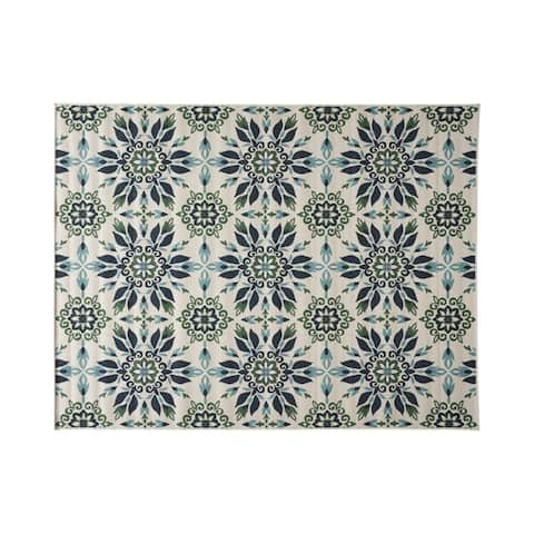 Gladis Outdoor Medallion Area Rug, Ivory and Blue by Christopher Knight Home