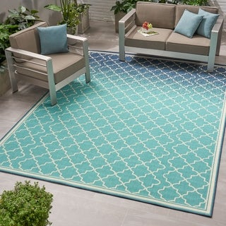 Christopher Knight Home Laguna Blue/Ivory Outdoor Ombre Area Rug