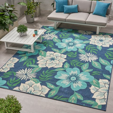Christopher Knight Home Meza Outdoor Blue/Green Floral Area Rug