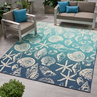 Christopher Knight Home Sea Breeze Blue/Ivory Ombre Outdoor Area Rug