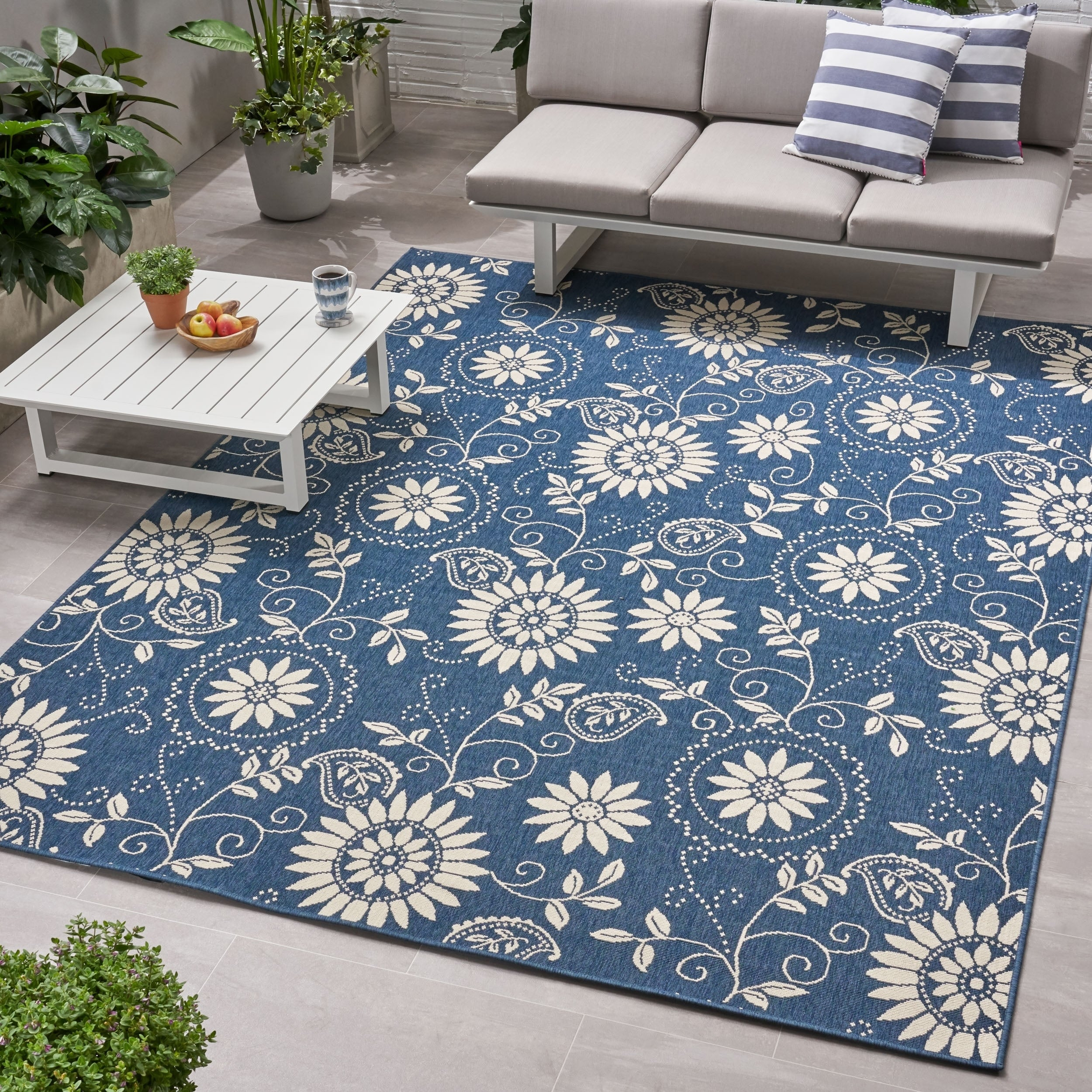 Wildflower Outdoor Botanical Area Rug Blue And Ivory By Christopher Knight Home