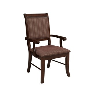 Wooden Arm Chairs with Fabric Upholstered Seat and Back, Brown, Set of Two