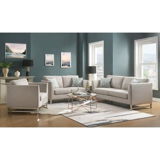 Linen Upholstered Wooden Sofa with Metal Legs, Beige and Silver