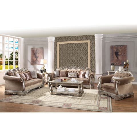 Luxurious Velvet Upholstered Sofa with Artistic Polyresin Carvings, Brown and Silver