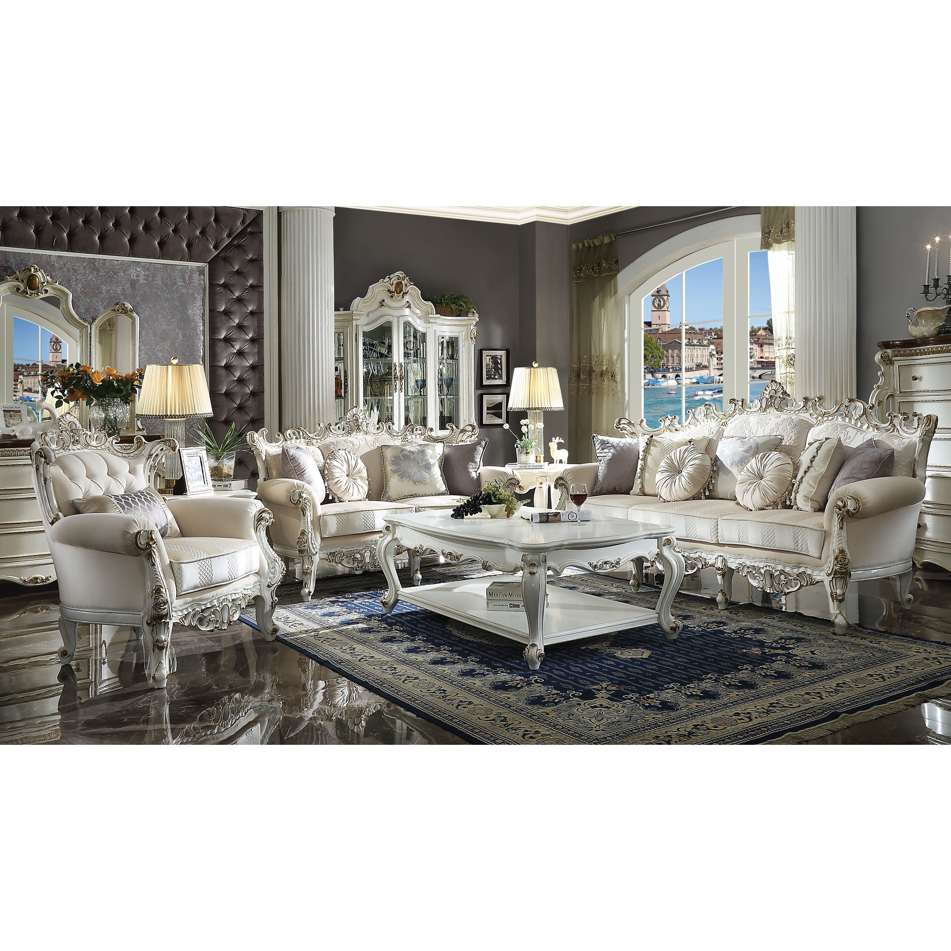 Shop Fabric Upholstered Wooden Sofa With Aesthetic Polyresin Carvings Antique White And Gold On Sale Overstock 28045789
