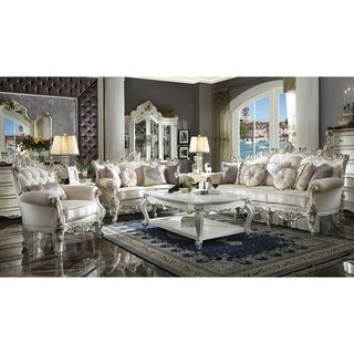 Fabric Upholstered Wooden Sofa with Aesthetic Polyresin Carvings, Antique White and Gold
